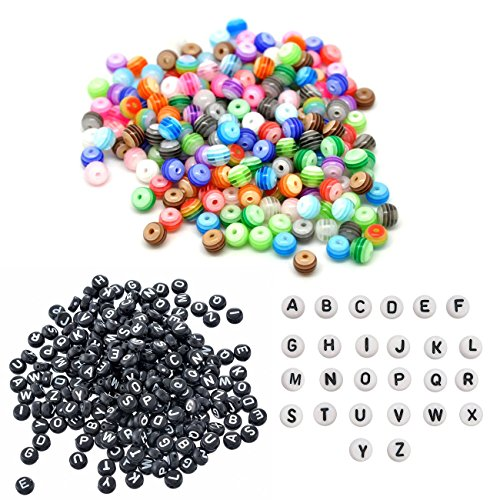 (100Pcs 6mm Candy Color Mixed Stripe Resin Round Beads with 400Pcs 7mm White&Black Acrylic Circular Letter Alphabet Beads for DIY Bracelets, Jewelry Making, Necklaces Handmade Gift)