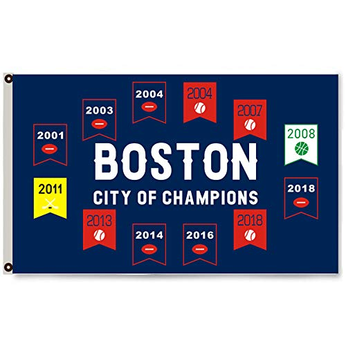 Mountfly Boston Sports Championships Flag Banner Football Baseball Basketball Hockey Fans 3X5 Feet Man Cave