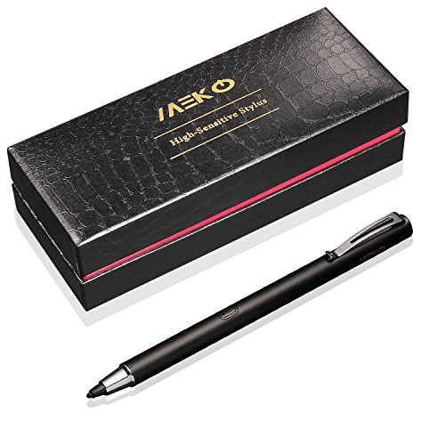 MEKO-Precision-Pro-Series-Fine-Point-Rechargeable-Active-Stylus-19mm-Solid-Rubber-Tip-Perfect-for-Drawing-and-Handwriting-Only-Compatible-W-iOS-and-Andriod-Touchscreen-Cellphones-Tablets-Black