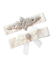 Rhinestone and Ivory Wedding Garter Set