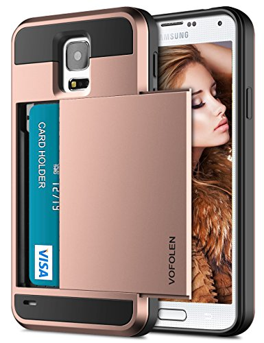 Vofolen Case for Galaxy S5 Case Hybrid Cover Galaxy S5 Wallet Case Shock Absorption Rubber Soft Bumper Armor Anti-Scratch Protective Shell with Slide Card Holder Slot for Samsung Galaxy S5 Rose Gold ()