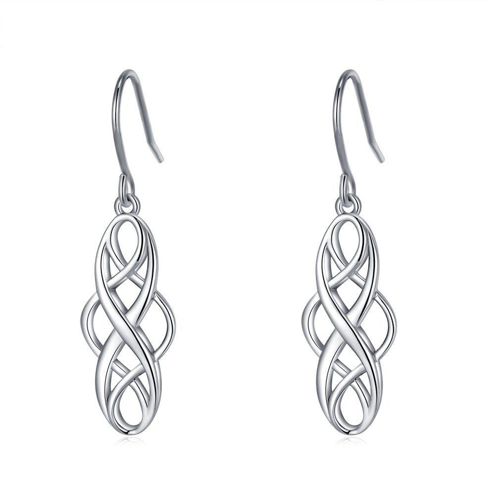 925 Silver Earrings Solid Sterling Silver Good Luck Irish Celtic Knot Vintage Dangles by LAIMALA
