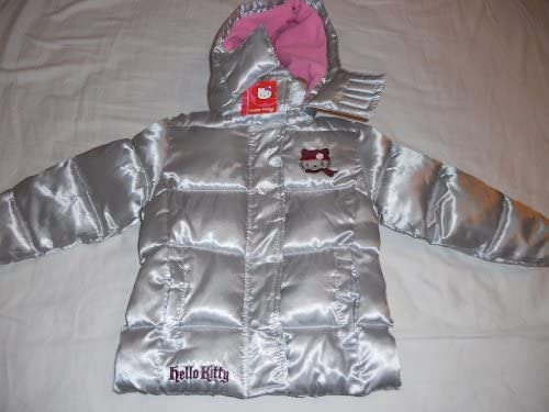 53bf26ebd Hello Kitty Girl Puffer Jacket w/Removable Hood - Silver Size: 4