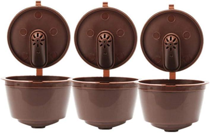KANGBOOS Filtro de café 3.a cápsula de café Reutilizable Dolce Gusto 3.a cápsula de café Recargable de plástico Dolce Gusto Apta para cafetera Nescafé, 3 Piezas, marrón: Amazon.es: Hogar