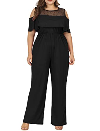 6eeda5c7c1a9 Allegrace Women Plus Size Cold Shoulder Lace Jumpsuit Flounce Sleeve Long  Rompers Black 1X