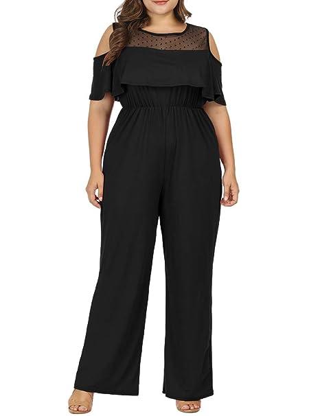 Allegrace Women Plus Size Cold Shoulder Lace Jumpsuit Rompers Flounce Sleeve Long Jumpsuits by Allegrace