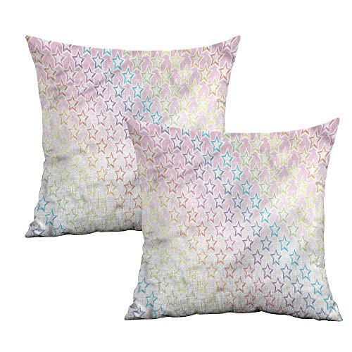 Khaki home Star Square Standard Pillowcase Stars in Rainbow Colors Square Personalized Pillowcase Cushion Cases Pillowcases for Sofa Bedroom Car W 18