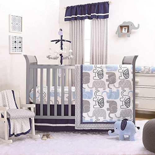 Little Peanut Blue Grey Elephant Crib Bedding - 20 Piece Nursery Essentials Set