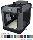 "EliteField 3-Door Folding Soft Dog Crate, Indoor & Outdoor Pet Home, Multiple Sizes and Colors Available (36"" L x 24"" W x 28"" H, Gray)"