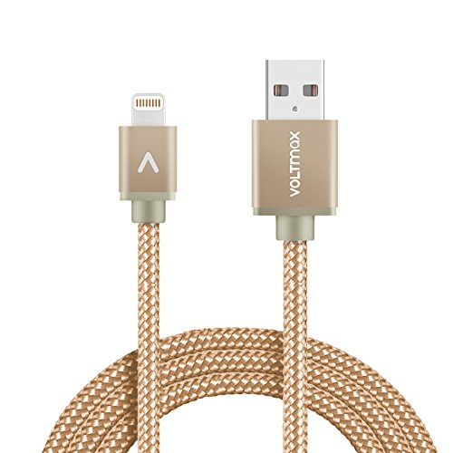 Apple MFi certified Lightning Cable, Voltmax Nylon-braided iPhone charger with reinforced aramid fiber for iPhone X iPhone 8/8Plus, iPad, Air pods&more(Gold-6ft)