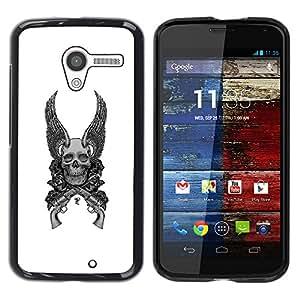 Shell-Star Arte & diseño plástico duro Fundas Cover Cubre Hard Case Cover para MOTO X / XT1058 / XT1053 / XT1052 / XT1056 / XT1060 / XT1055 ( Wings Guns White Black Death Skull )