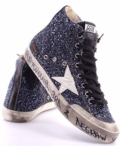 Zapatos Hombres High Sneakers GOLDEN GOOSE Francy G25U591.R4 Blue Glitter Italy