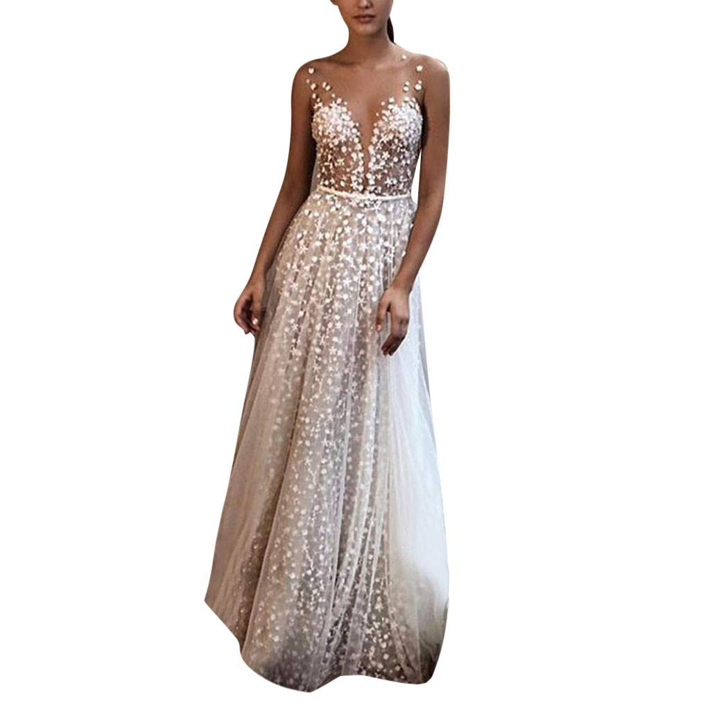 Pervobs Women Sling Cross Wedding Sleeveless V-Neck Elegant Party Evening Slim Hollow Lace Dress Vestido(US: 6, White)