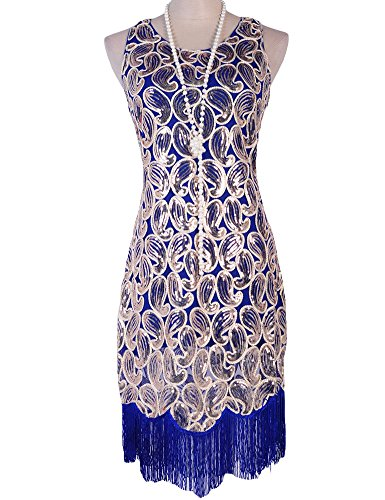 PrettyGuide Women's 1920s Sequin Paisley Racer Back Tassels Flapper Cocktail Dress – Small, Blue