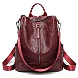 ZUNIYAMAMA Casual Purse Fashion School Leather Backpack Crossbady Shoulder Bag Mini Backpack for Women & Teenage Girls red waterproof