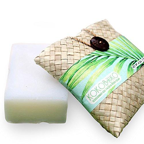 KOKOBOKO Wild Pure Virgin Coconut Oil Soap Bar In Natural Woven Gift Bag I Small Batch, Chemical-Free And Vegan Hair, Body & Face Soap I Handmade In Pristine Tropical Bali, (4.2oz)