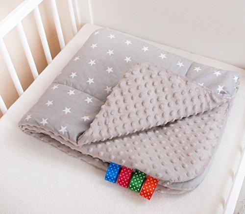 Kuschlige Babydecke FLAUSCHIG Decke Kinderdecke Babydecke 75x100 Kuscheldecke Sternchen grau/grau