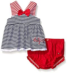 Tommy Hilfiger Baby Girls\' Yarn Dyed Striped Jersey Top and Poplin Diaper, Red/Navy, 6-9 Months