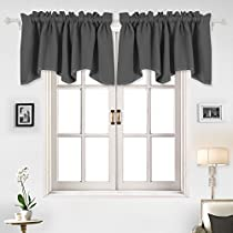 Deconovo Solid Color Rod Pocket Blackout Curtains Short Curtains Scalloped Valance 1 Panel