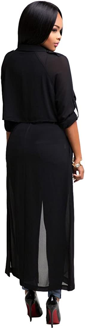 Dreamsoar Womens Long Sleeve Fashion Chiffon Lightweight Maxi Sheer Duster Cardigans at  Women's Coats Shop