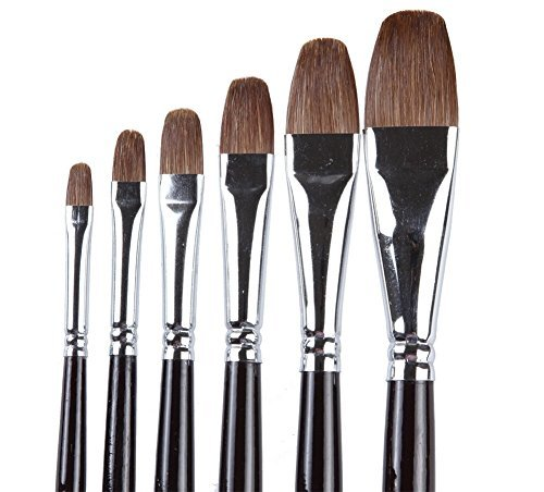 ARTIST PAINT BRUSHES - Professional 6PCS Red Sable (Weasel Hair) Long Handle, Filbert Paint Brush Set For Acrylic, Oil, Gouache and Watercolor Painting,Well-balance Birch Wooden (Long Filbert)
