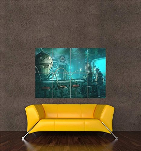 Doppelganger33LTD Underwater BAR Octopus Steampunk New Giant Wall Art Print Picture Poster OZ980 3