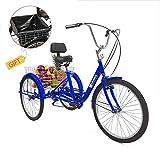 Weanas 7 Speed 24/26 Inch Adult Tricycle Trike Cruiser Bike Three-Wheeled Bicycle Men's Women's Cycling Bicycles for Recreation, Shopping w/Lock, Bike Pump, Basket Shopping Bag