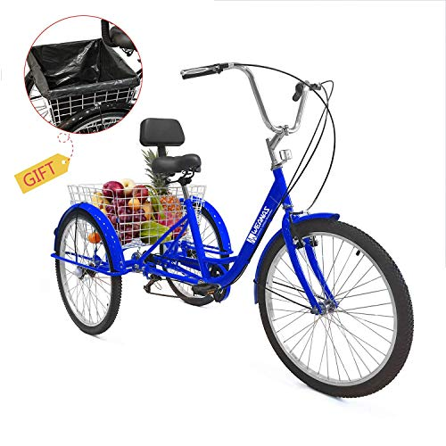 Weanas 7 Speed 24/26 Inch Adult Tricycle Trike Cruiser Bike Three-Wheeled Bicycle Men's Women's Cycling Bicycles for Recreation, Shopping w/Lock, Bike Pump, Basket Shopping Bag