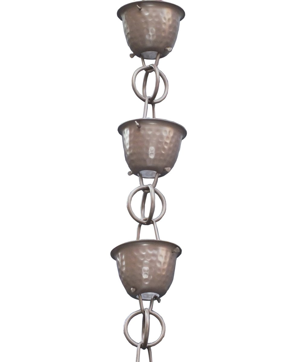 Monarch Aluminum Hammered Cup Rain Chain, 8-1/2 Feet Length (Beaver Brown)