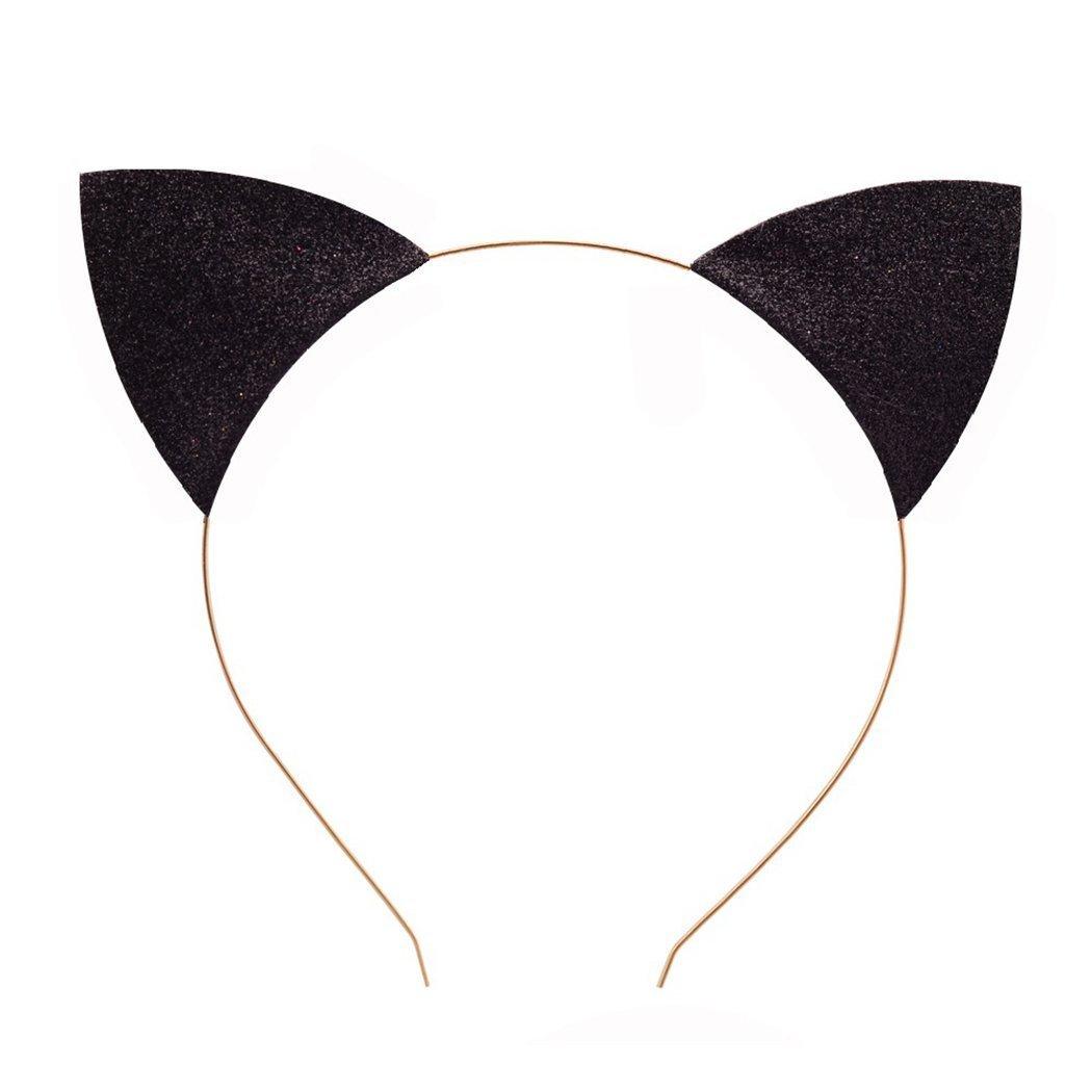 LASASA GirlsFelina Glitter Cat Ears Headband (Silver+Black-1PCS) MLIL