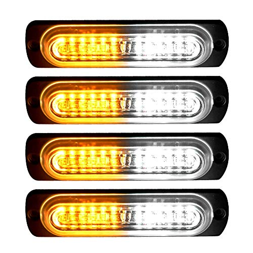 YITAMOTOR 4 inch Amber White Surface Mount Grill Light Head, 12W Bright LED Mini Strobe Light Bar for Construction, Tow Truck Van and Utility Vehicle (pack of 4)