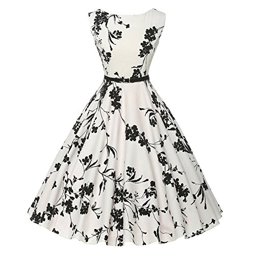 [MUMUBREAl Women's Classic 1950s Vintage Audrey Hepburn Sleeveless A Line Dress XX-Large White] (1950 Dress)