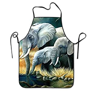 Elephant-cartoons Restaurant Home Kitchen Kitchen Cooking Apron For Women And Men, Apron Bib For Cooking, Grill And Baking, Crafting, Gardening - Adjustable Neck Strap