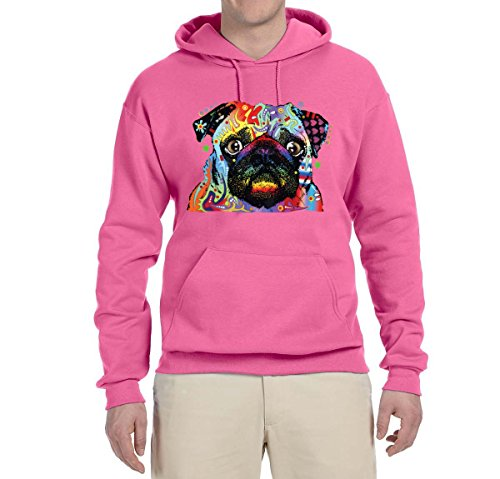 Colorful Rainbow Pug | Mens Animal Lover Hooded Sweatshirt Graphic Hoodie, Neon Pink, Small (Horse Spirit Rainbow)