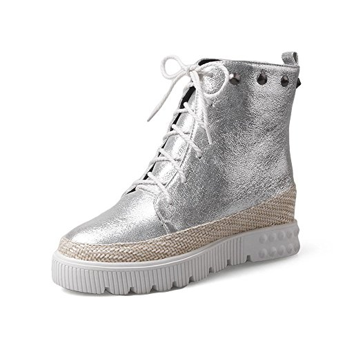 Closed Rivet Silver WeiPoot Boots Heels with Low Material Solid Soft High Women's Toe Top Round x6q6OrI