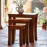Usha Furniture Graywood Nesting Tables Sheesham Wood Set Of 3 Stools (Brown)