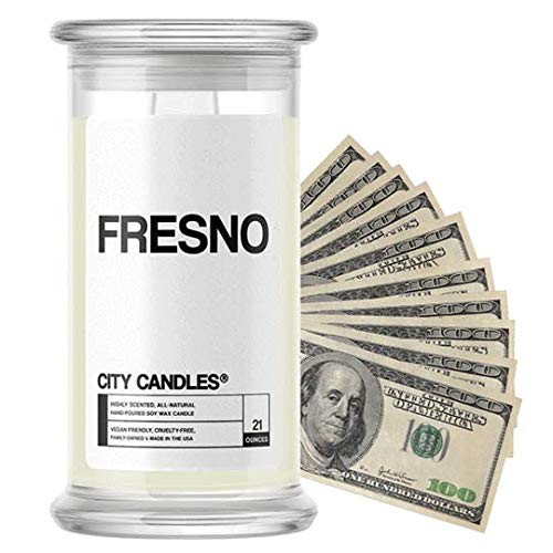 Fresno City Cash Money Candles | $2-$2500 Inside | Guaranteed Rare $2 Bill | Choose from 30+ Scents | 21oz Jar | Cinnamon Apple | Fresno (Fresno Apple One)