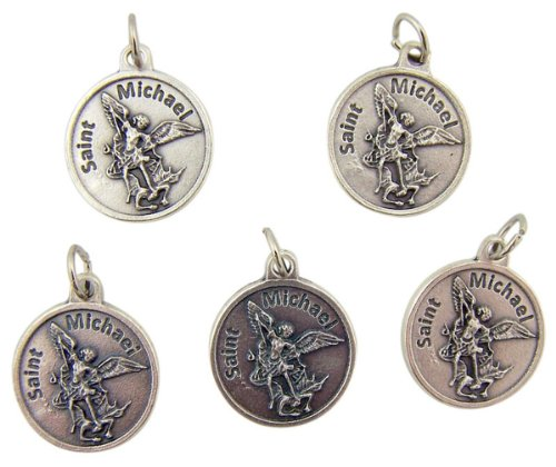 lot-of-5-saint-michael-with-dragon-7-8-inch-silver-tone-medal-with-prayer-on-back