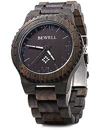 Bewell ZS - W065A Wood Men Quartz Watch Roman Numeral Scales (EBONY WOOD)