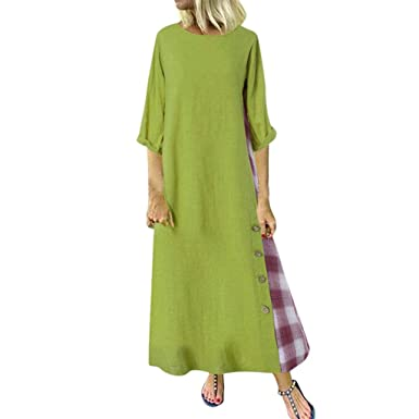 f6448216f1969 Women Plus Size Dress, M-5XL, Ladies Vintage Patchwork 3/4 Sleeves ...