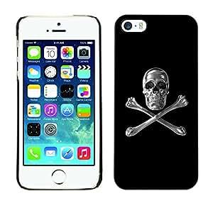 Planetar® ( Skull Crystal Silver Crossbones Black ) iPhone 5 / 5S Fundas Cover Cubre Hard Case Cover