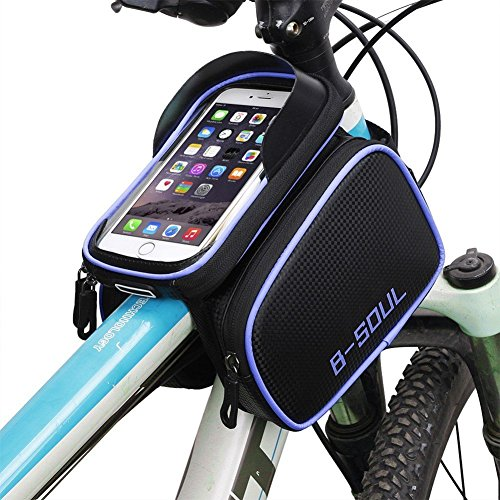 AISISAIWEN Bike Bag, Bicycle Front Tube Frame Bag, Handlebar Bag with Detachable Waterproof Touch Screen Phone Case for Cellphone up to 6.2 Inch + Rain Cover