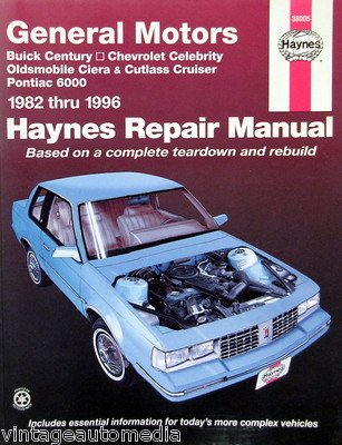amazon com 1982 1996 haynes repair manual buick century 38005 rh amazon com 1997 Buick LeSabre Repair Manual 1998 Buick Park Avenue Manual