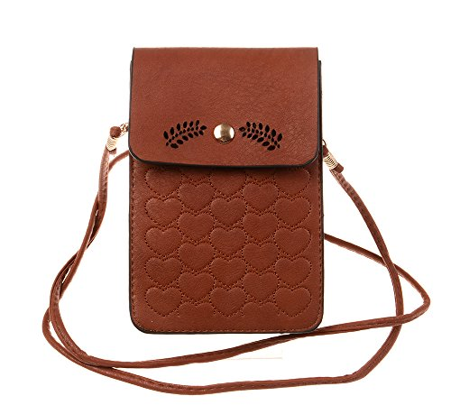 TUODAWEN Floral Hollow Pattern Cellphone Pouch Mini Crossbody Bag (Coffee)
