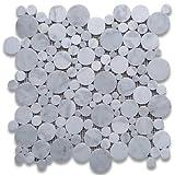 Carrara White Italian Carrera Marble Bubble Round Mosaic Tile Polished