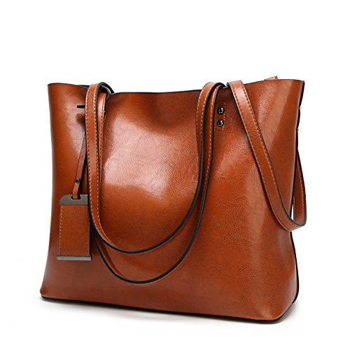 Women Square Tote Bags Top Handle Satchel Handbags Faux Leather Shoulder Zipper Purse - Brown