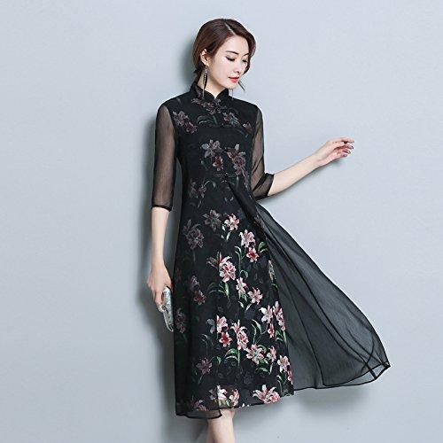 De Vestidos Chiffon black Piezas Primavera Dos Delgada Gasa De Vestido Falsa Verano ZHUDJ Impresión De Código RTaUw1xW
