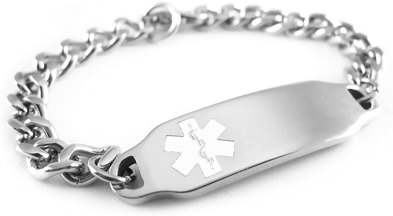 My Identity Doctor Pre-Engraved /& Customizable Diabetic Ladys Toggle Medical Bracelet Steel Hearts Black