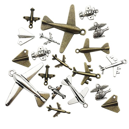 Aircraft Airplane Charm-100g(40-45pcs) Craft Supplies Charms Pendants for Crafting, Jewelry Findings Making Accessory For DIY Necklace Bracelet M49 (Aircraft ()