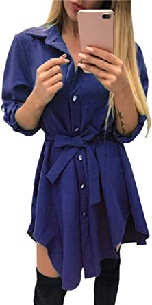 Mujer Casual Camisa Vestido Cuello V Vestido de Manga Larga ...
